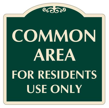 Common Area for residents use only sign image