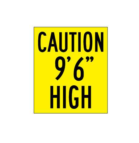 "Caution 9' 6"" Hight Decal"