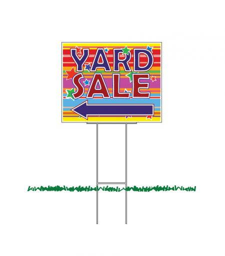 Yard Sale Left Arrow colorful yard sign