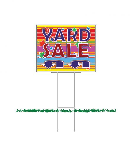 Yard Sale U Turn Arrow colorful yard sign