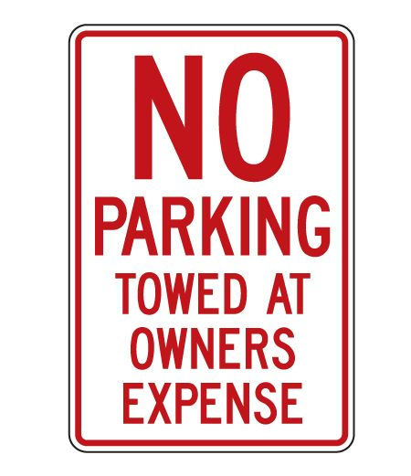 No Parking Towed 18x12 sign image