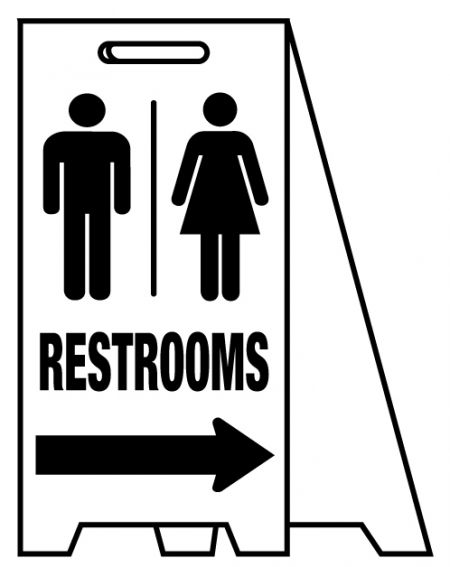Coro A-frame Restroom directional sign image