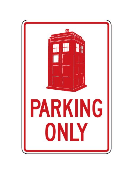 Police Box Parking Only sign image