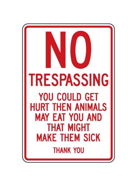 No Trespassing Sick Animals sign image