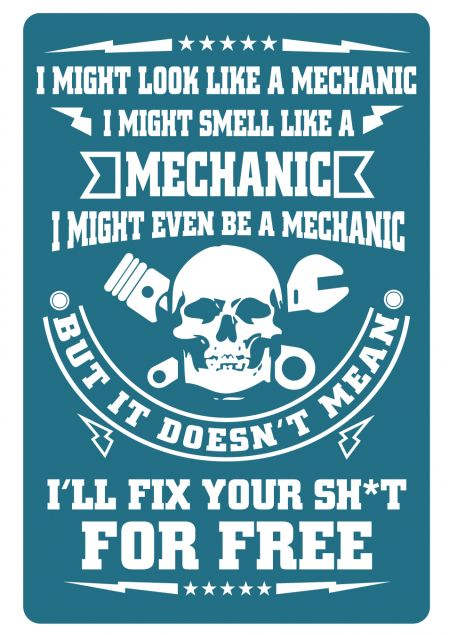 I Might Look Like a Mechanic sign image