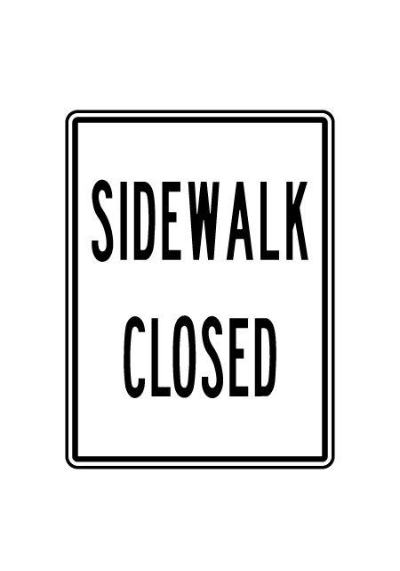 Sidewalk Closed 24x18 sign image
