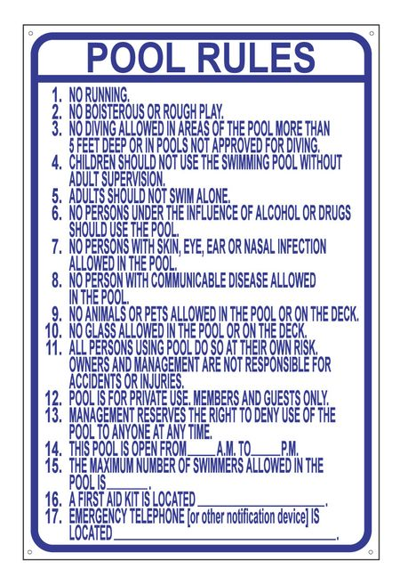 Pool Rules Blue and White Aluminum Sign With Holes
