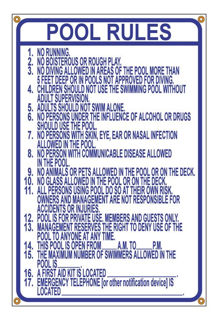 Pool Rules Blue and White Polystyrene 