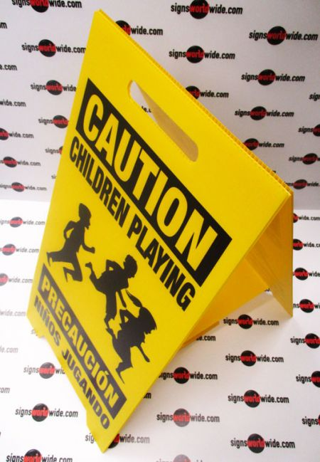 Caution Children Playing A frame sign image 1