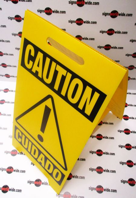 Caution Cuidado A frame sign image 1