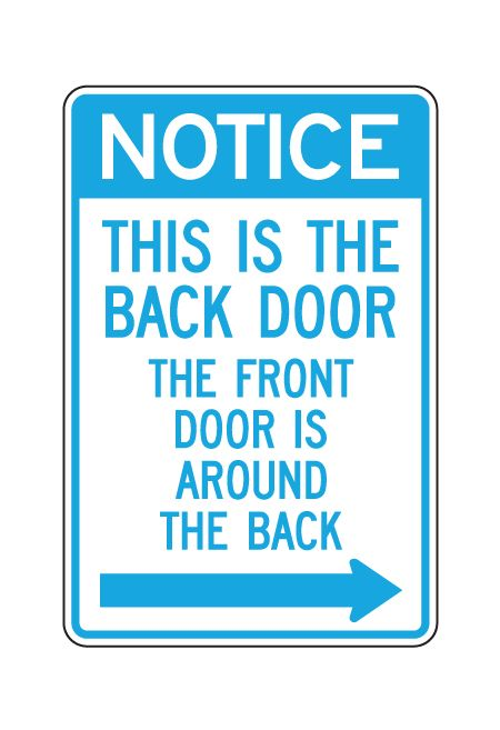 This Is the Back Door Aluminum Sign Image Blue
