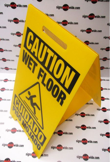 Caution Wet Floor A-frame sign image 1