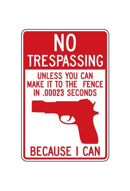 No Trespassing Gun sign image
