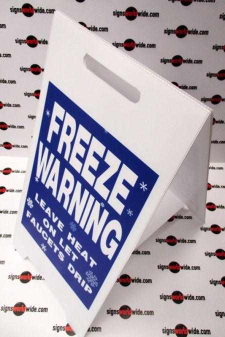 Freeze warning A-frame sign image